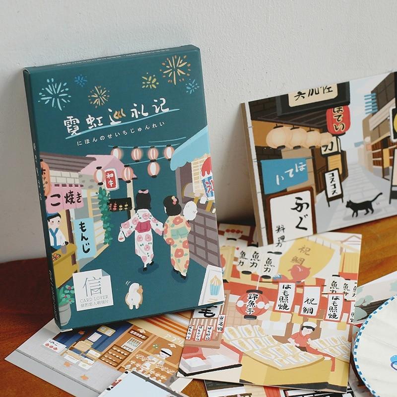 30 Sheets/Set Japan Kyoto Tour Watercolor Series Postcard Greeting Card Wish Card Christmas and New Year Gifts
