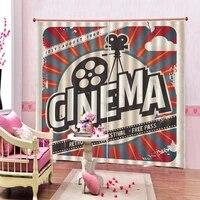 Rideaux 3D personnalises  objets de divertissement a lancienne lies au cinema  bobine de Film  Film dimage  rideaux dinterieur pour fenetre