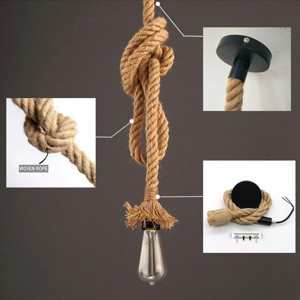 Retro Hemp Rope Pendant Light Ac90 260v Vintage E27 Led Light Bulb Pendant Lamp Industrial Lamp Loft Home For Decor Hanglamp Pendant Lights Aliexpress