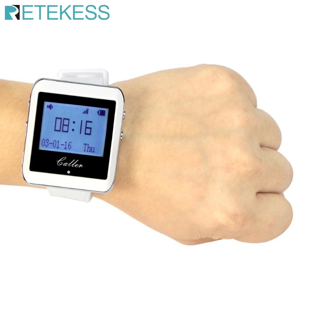 Retekess 999 ערוץ RF אלחוטי לבן שעון יד מקלט עבור מזון מהיר חנות מסעדה שיחות מערכת ההחלפה 433MHz F3288B