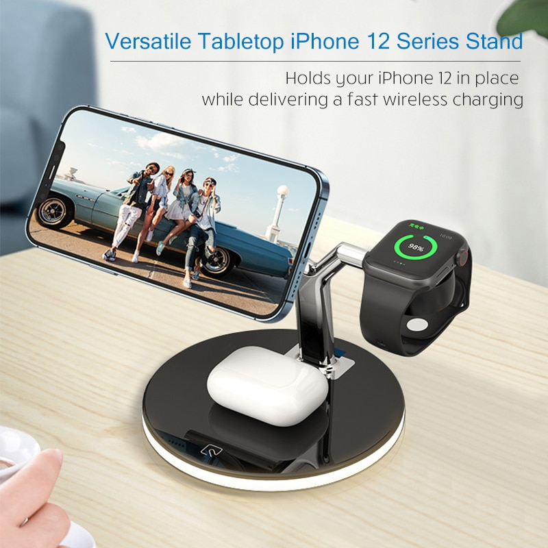 Get 3 in 1 Magnetic Wireless Charger Stand For Magsafe iPhone 12 Mini Pro Max/Apple Watch Fast Charging Dock Station For Airpods Pro