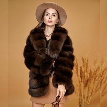 2021 Winter New Real Fox Fur Jacket High Quality Thick Warm Full Pelt Natural Fox Fur Coats Turn-down Collar Luxury Fur Outwear