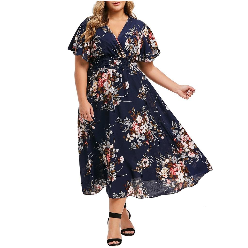 @Summer Bohemian Long Dress Plus Size Fashion Women Floral Printed V-neck Short Sleeve Casual Floral Beach Dress Vestidos bohemian round neck long sleeve printed cut out dress for women