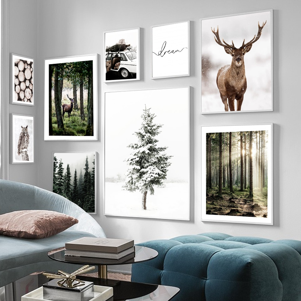 AliExpress - Winter Snow Forest Deer Owl Sunlight Landscape Painting Nordic Morning Scenery Canvas Poster Art Print Wall Pictures Home Decor