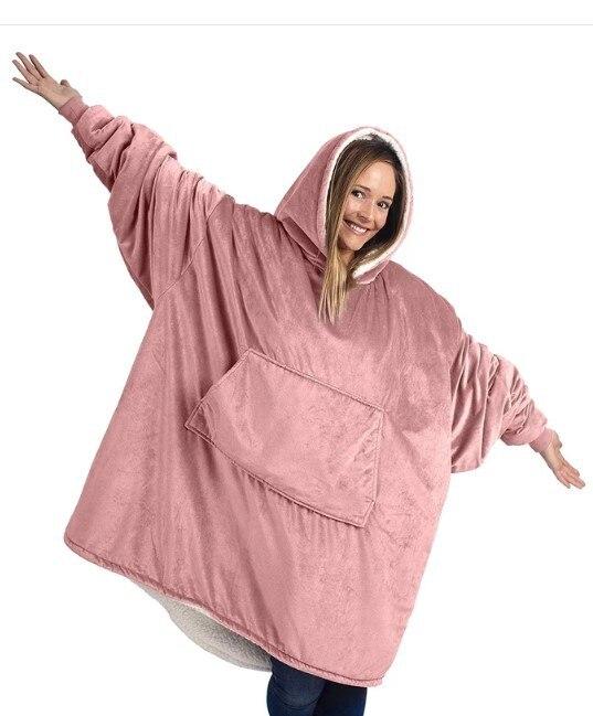 Плюшевое Коралловое флисовое шерпа одеяло с рукавами супер мягкое теплое наружное карманное худи для взрослых зимние с капюшоном ТВ одеяла Толстовка