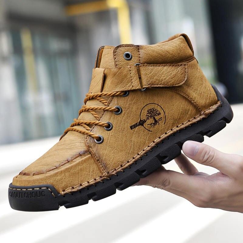 Ботильоны мужские кожаные в западном стиле, классические модные мотоботинки, уличная рабочая обувь, ручная работа, 38-48
