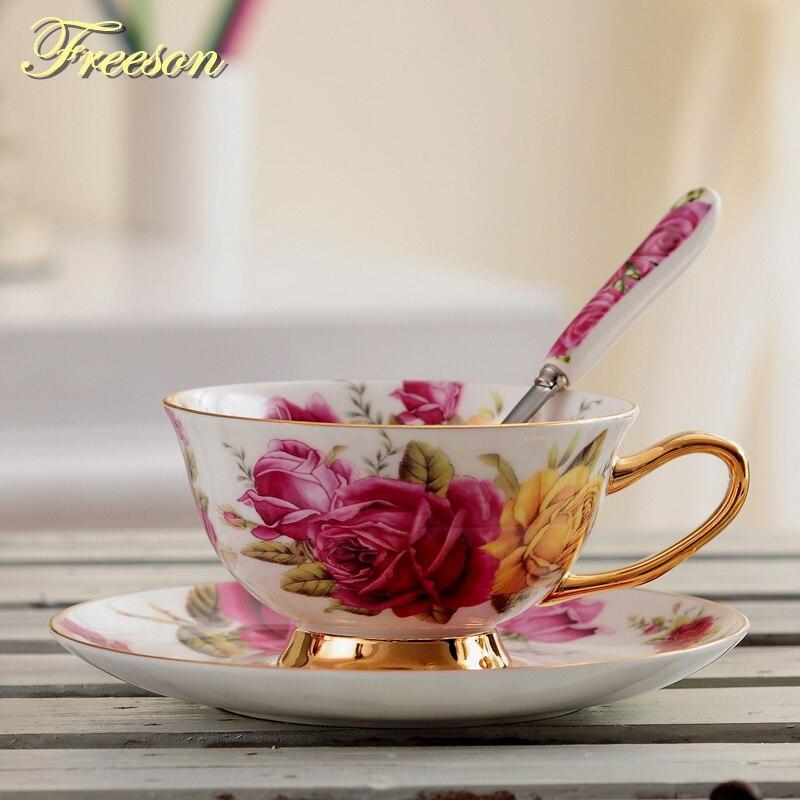 Pastorale Rosa Bone China Tazza di Tè Piattino Cucchiaio Set 200ml Europa Avanzata Porcellana tazza di Caffè Tazza di Caffè di Ceramica Floreale Tazza Da Tè dropship