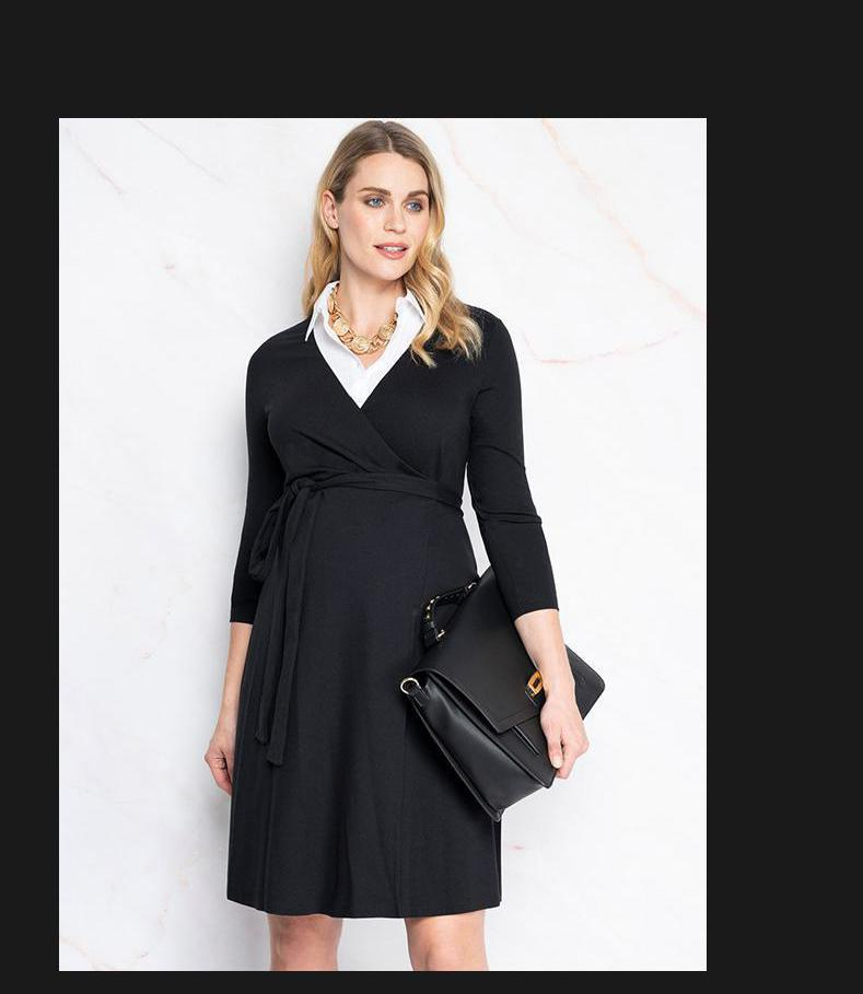 Maternity Clothes V Neck Dress Spring Autumn Cotton Long Sleeve Loose Plus Size Maternity Dress For Pregnant Women Mom Dress 697 enlarge