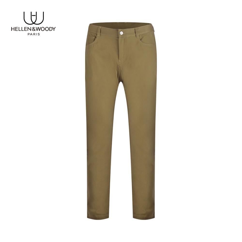 HELLEN&WOODY Mens Fashion 2020 Soild Color Straight Casual Pants Luxury Designer Slim Fit Trousers