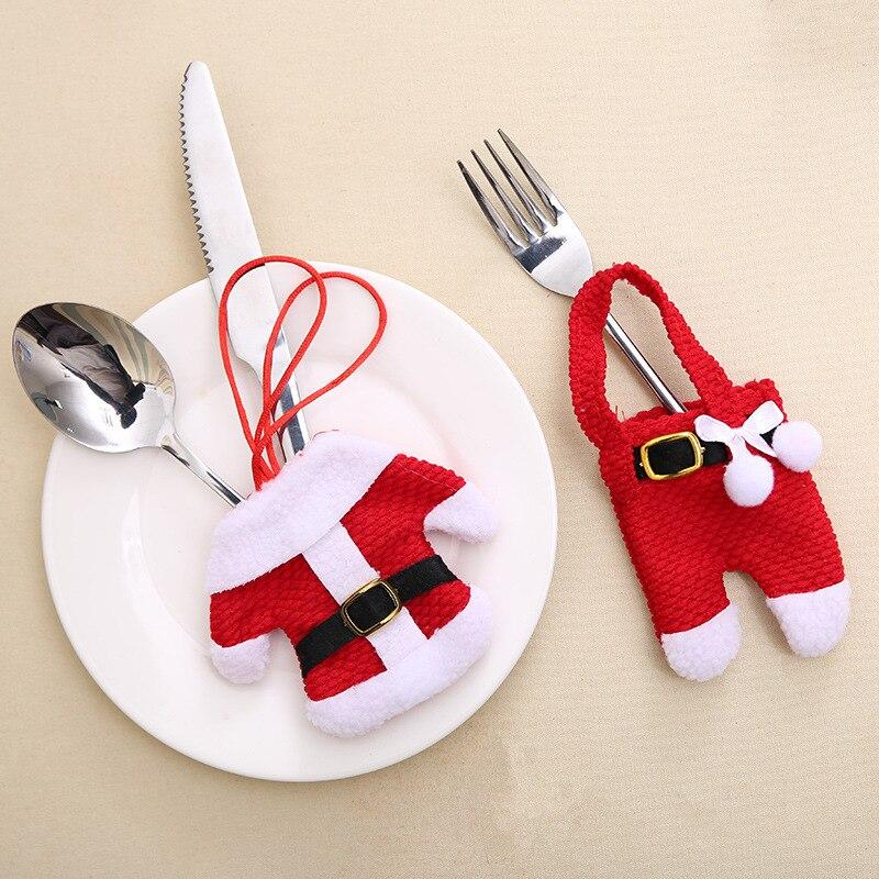 2 pçs natal talheres mesa saco christma decoratio para casa talheres bolso garfo faca utensílios de mesa papai noel jantar decoração da sua casa