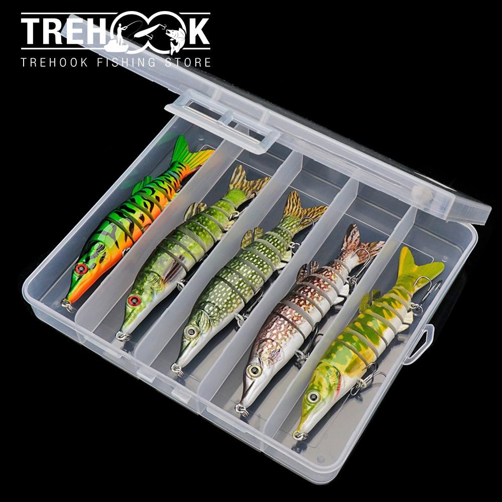 Trehook 3/5 pçs lifelike pique wobblers define 12.5cm 18g 8-segmentos articulado isca artificial para pique pesca equipamento afundando iscas