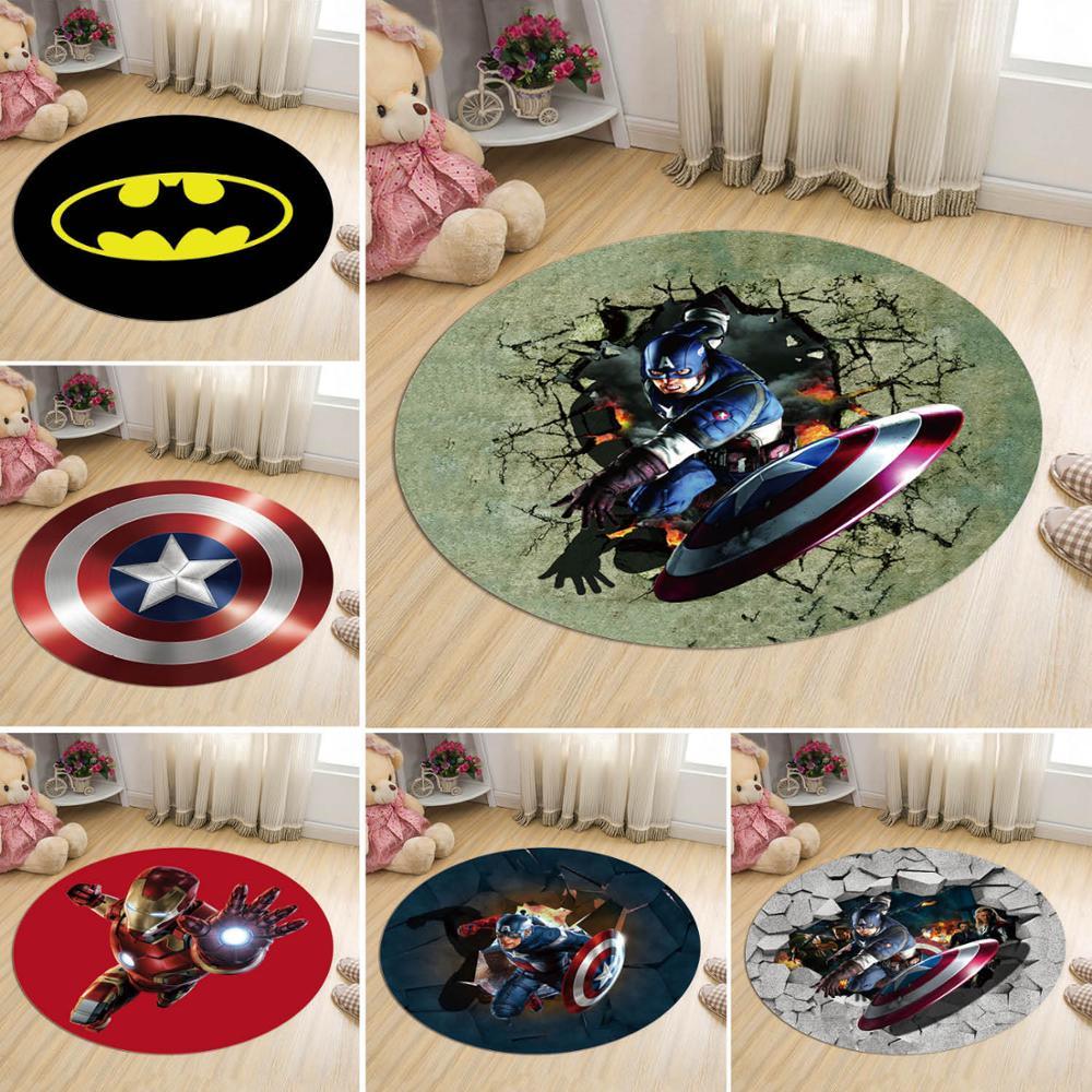 60CM circular Marvel The Avengers Plush Carpet Iron Man batman Captain America Rug Mat Christmas Gift Toys For Kids
