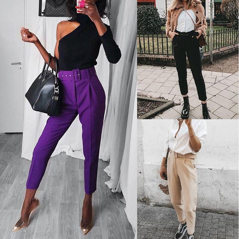 Pantalones tiempo libre hasta el tobillo cintura alta Color sólido primavera 2020 con cinturón púrpura caqui negro pantalones para mujeres