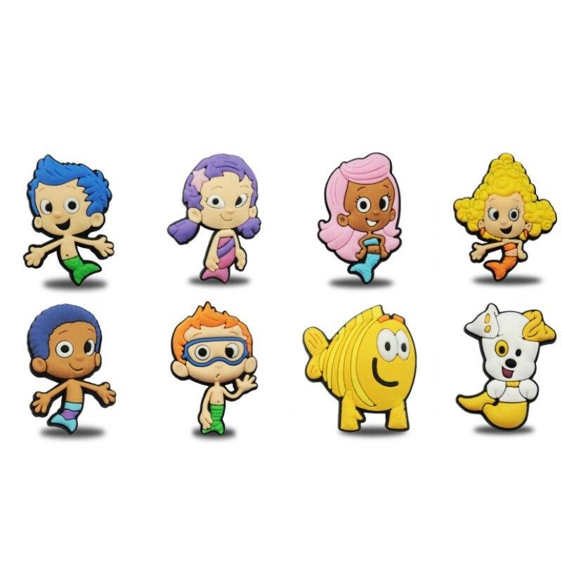 Imanes de dibujos animados para refrigerador 8 Uds Kawaii Bubble Guppies PVC magnético imanes para nevera decoración del hogar chico juguete para regalo