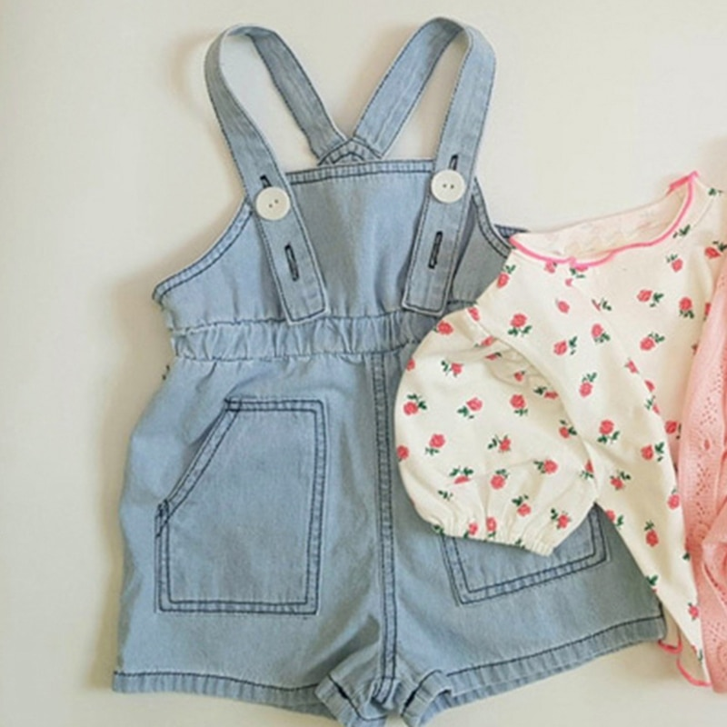 Children Baby Girls Boys Jeans Pure Color Overalls Cowboy Denim Jumpsuits 2021 Summer Shorts Fashion Kids Infant Pants Ins Style