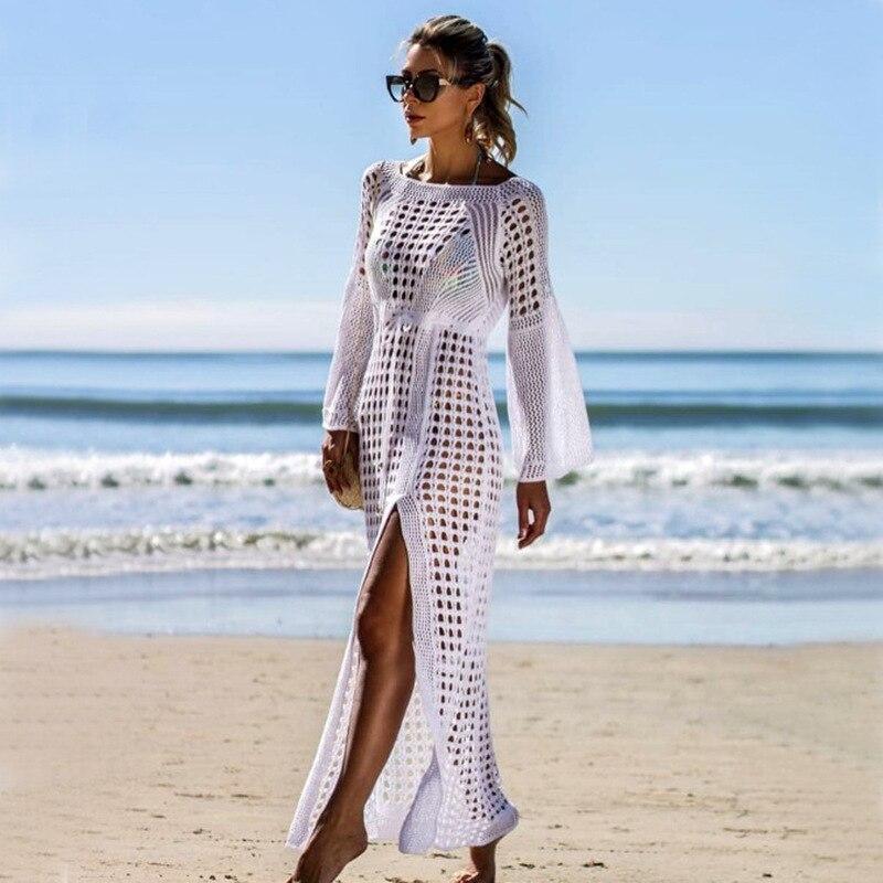 TRODEAM Summer Beach Dress White Mesh Cover Up Women Side Split Bikini Cover Ups Swimwear Bathing Suit Swimsuit Beach Dress Long