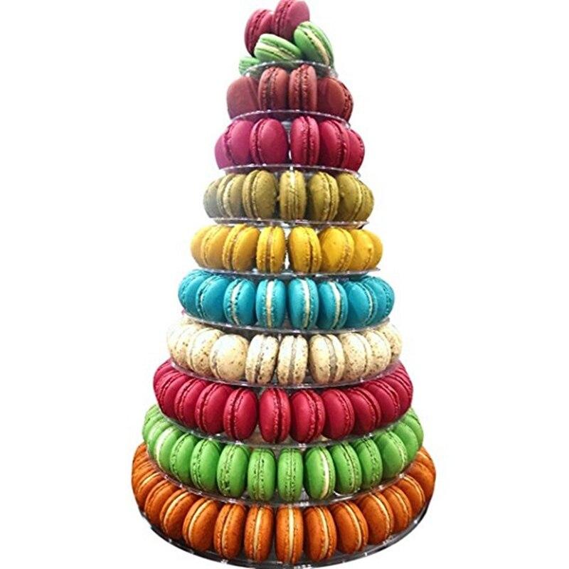 10 niveles Torre Macaron soporte de exhibición redondo pastel soporte PVC bandeja cumpleaños boda expositor herramientas de decoración de pasteles
