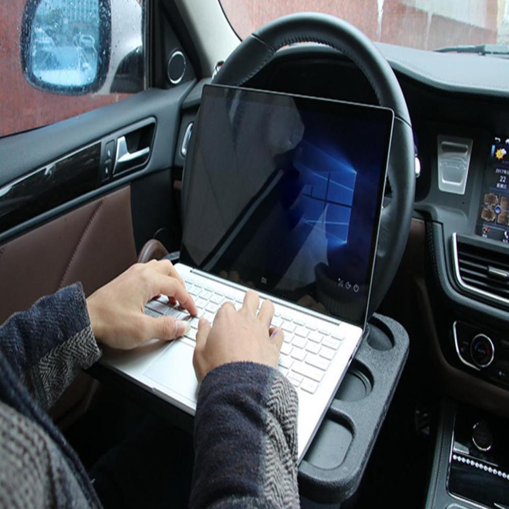 حامل كمبيوتر محمول للسيارة متعدد الوظائف ، حامل على شكل عجلة قيادة ، للطعام والمشروبات ، وبطاقات السيارة
