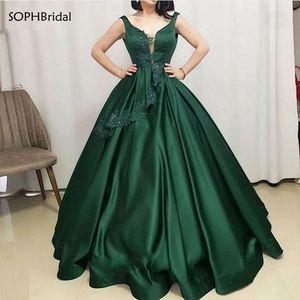 New Arrival V Neck Evening Dresses Sleeveless Stain Dubai Saudi Arabic Evening Gowns Appliques Crystal Prom Dress Robe de Soirée