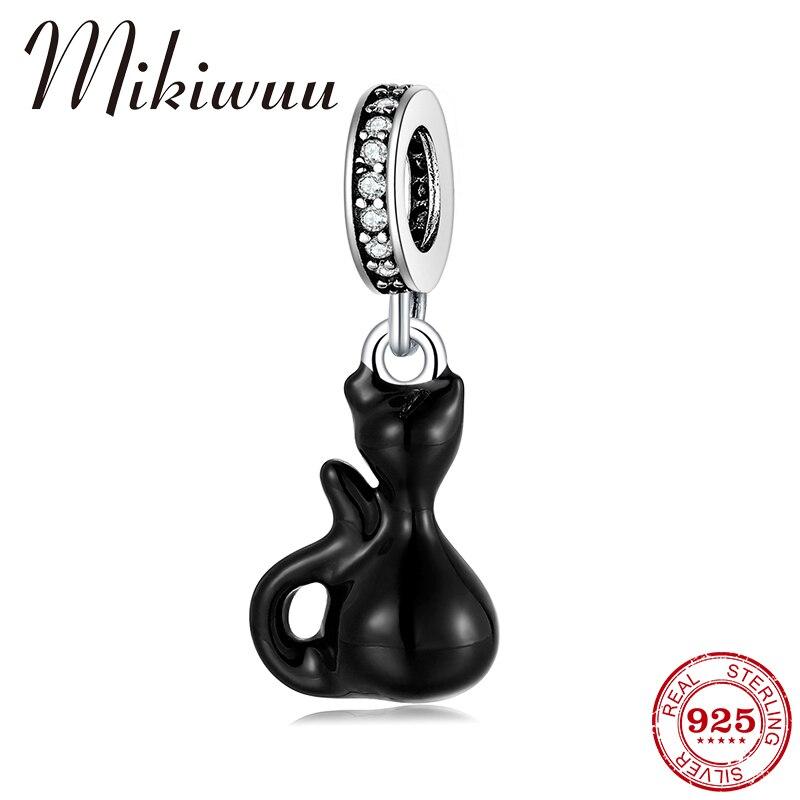 925 prata esterlina impertinente pequeno gato preto esmalte contas pingentes caber original mikiwuu encantos prata 925 pulseiras diy jóias