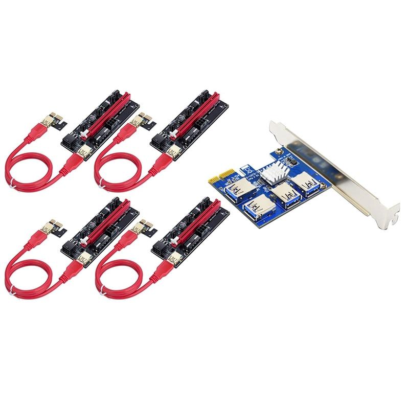PCI-E توسيع مجموعة من البطاقات واحد ل أربعة USB3.0 Pcie 1X إلى Pcie 16X 009S PCI-E بطاقة جرافيكس تمديد كابل ل BTC مينر