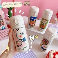 cute korean style thermos bottle creative 304 stainless steel flask vacuum cup for women travel cup kawaii fashion water bottles