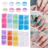 6 grids 3d nail rhinestones nail art manicure diy decoration nail crystal jewelry flat back semicircle new glass decoration