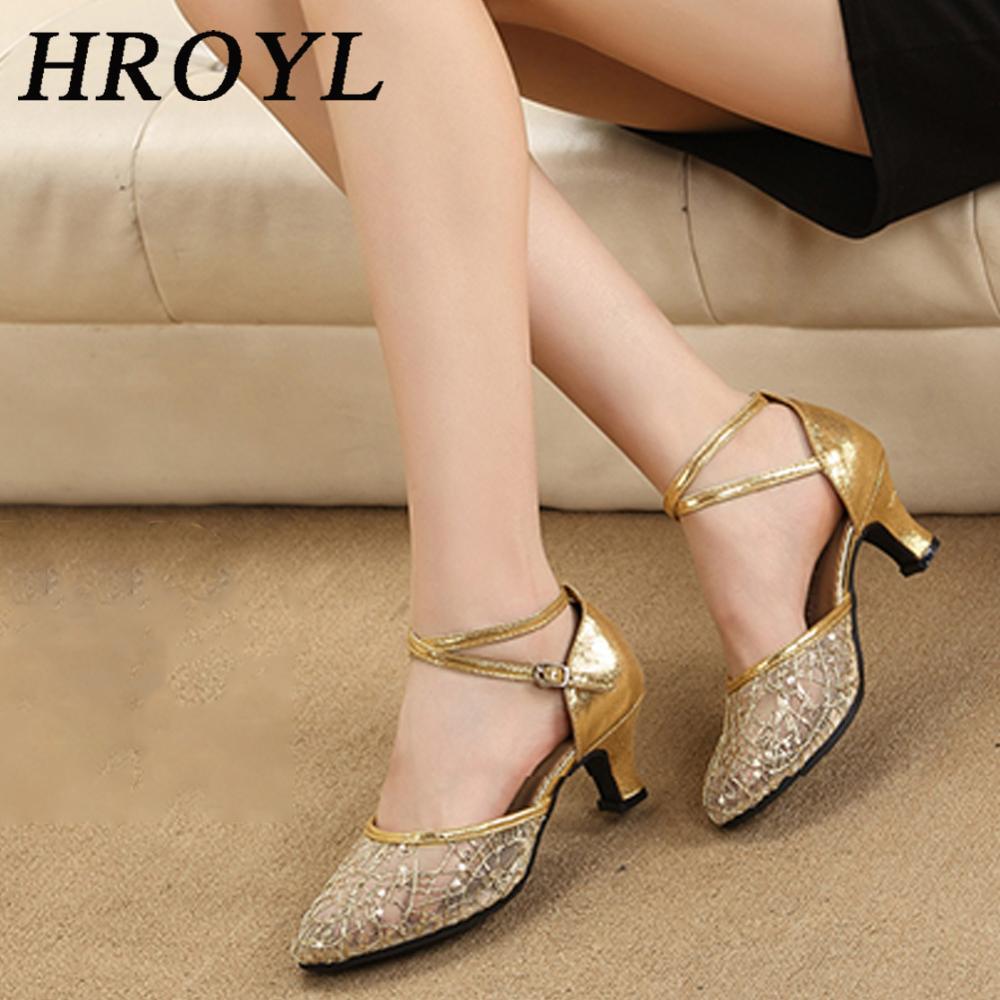 Zapatos de baile HROYL para baile latino, Tango y Jazz, para mujeres y niñas, tacones sexis de 3,5/5,5 CM, lentejuelas de malla, venta al por mayor, dorado/plateado/rojo