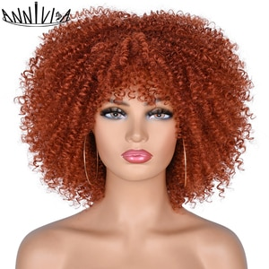 """Short Hair Afro Kinky Curly Wigs With Bangs For Black Women 10"""" Natural Synthetic Ombre Glueless Cosplay Wigs High Temperature"""