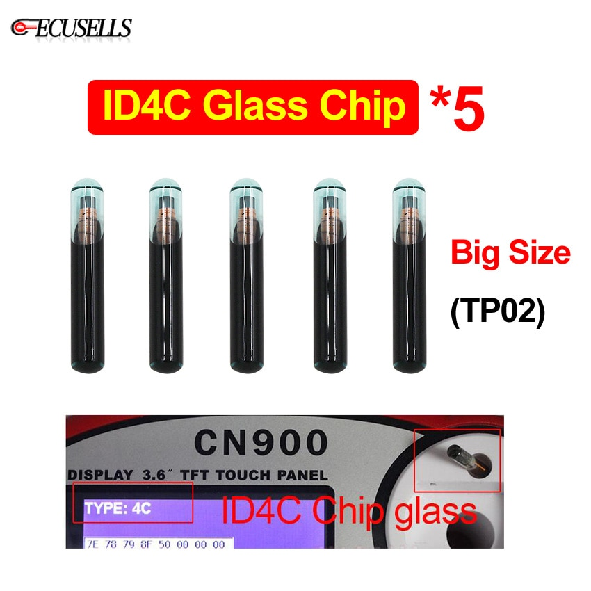 5Pcs/Lot Original ID4C Glass Blank Virgin Transponder Chip 4C Glass Chip TP02 Transponder Chip Car Key Chip Big Size