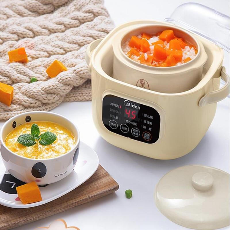Olla de cocción lenta eléctrica de cerámica para el hogar, 220V, 0.8L,...