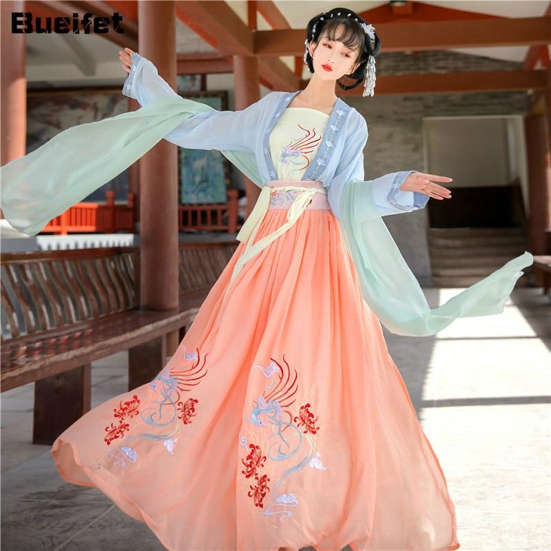 Hanfu فستان كلاسيكي الجنية التطريز المرحلة الشعبية ملابس رقص الصينية التقليدية القديمة تانغ دعوى فتاة الأميرة الملابس