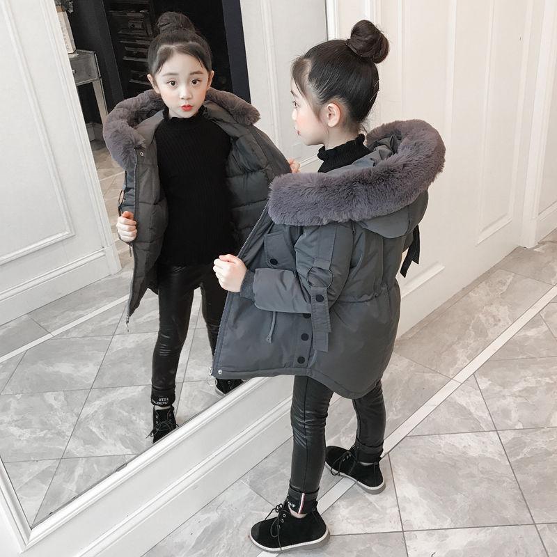 MudiPanda الشتاء الفتيات سترة قطن 2020 سميكة القطن ملابس خارجية الفتيات ملابس عصرية طويلة الفراء معاطف للأطفال 8 10 11 12Yrs
