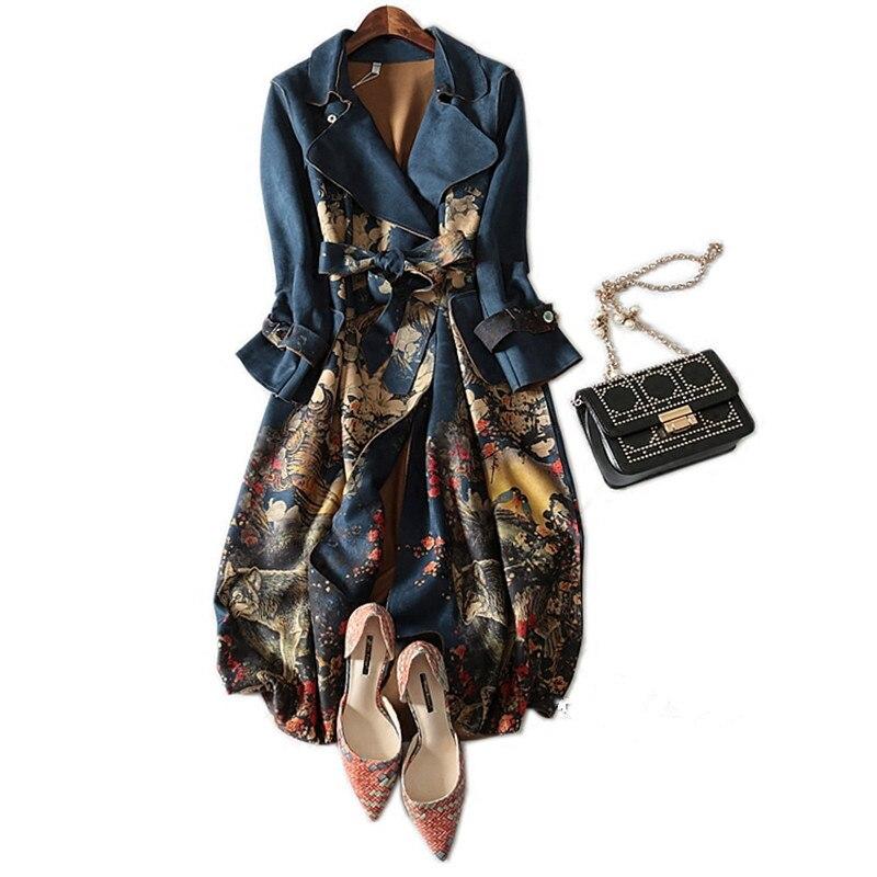 معطف من جلد الغزال عالي الجودة مع حزام للنساء ، ملابس خارجية غير رسمية ، خريف وشتاء 2021 ، مقاس كبير