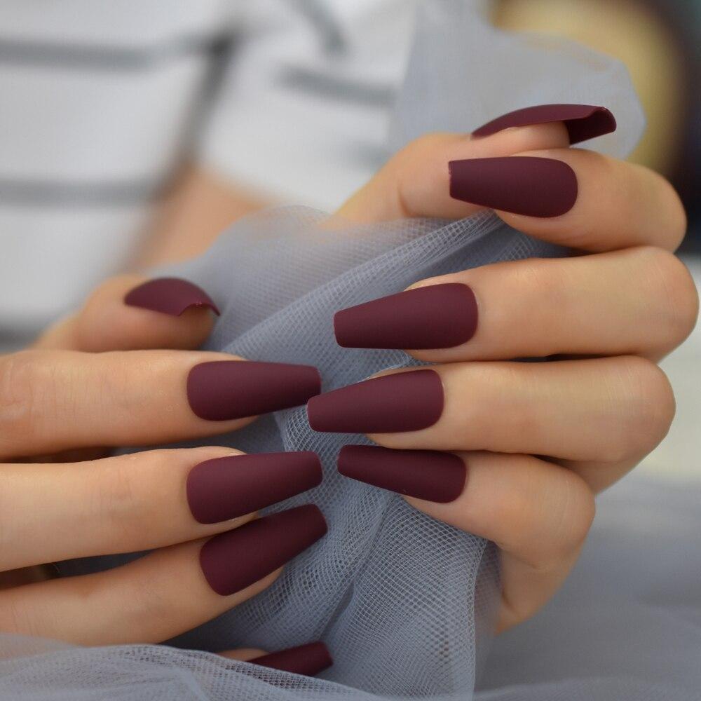 Uñas postizas de Color puro mate, tiras de uñas artificiales de cobertura completa con doble pegatina de 24CT, venta al por mayor