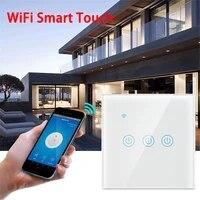 Interrupteur tactile intelligent WiFi  1 2 3 4 boutons  220-240V  Standard ue  pour commande vocale  compatible avec Alexa et Google Home Assistant
