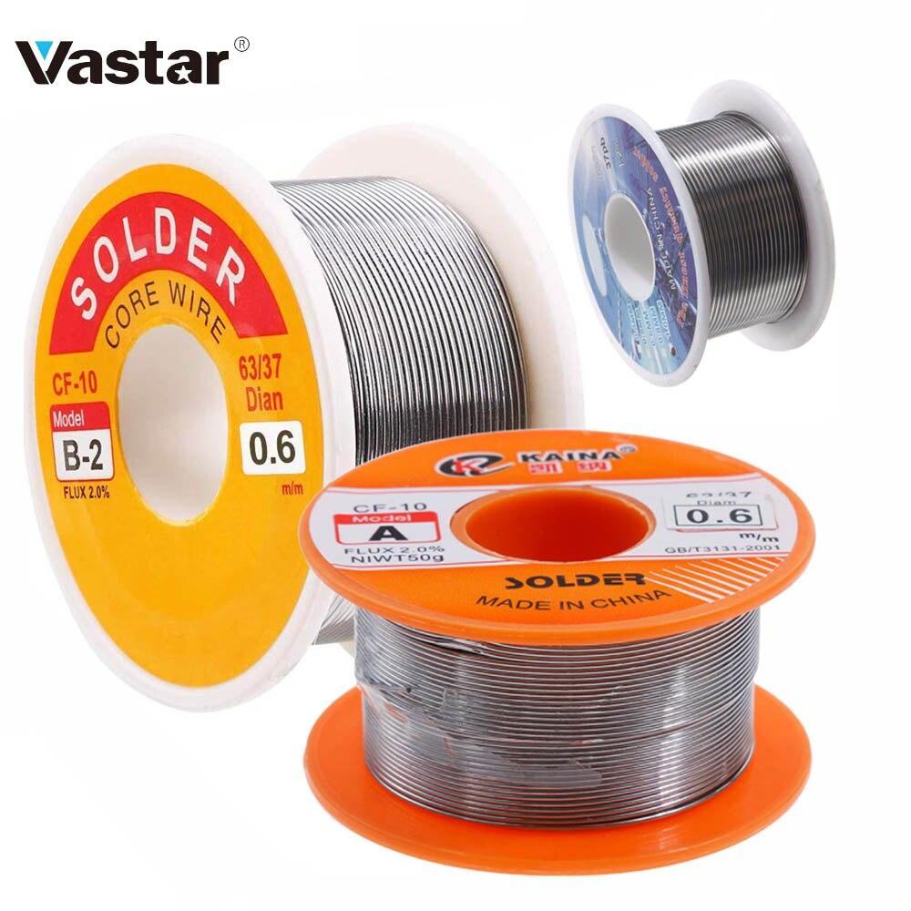 Vastar-fil à souder en étain, 0.8mm, 100g, noyau en colophane, Flux 63/37 2.0%/0.8, 1/1, 5/2mm, fer à souder 30g 50g