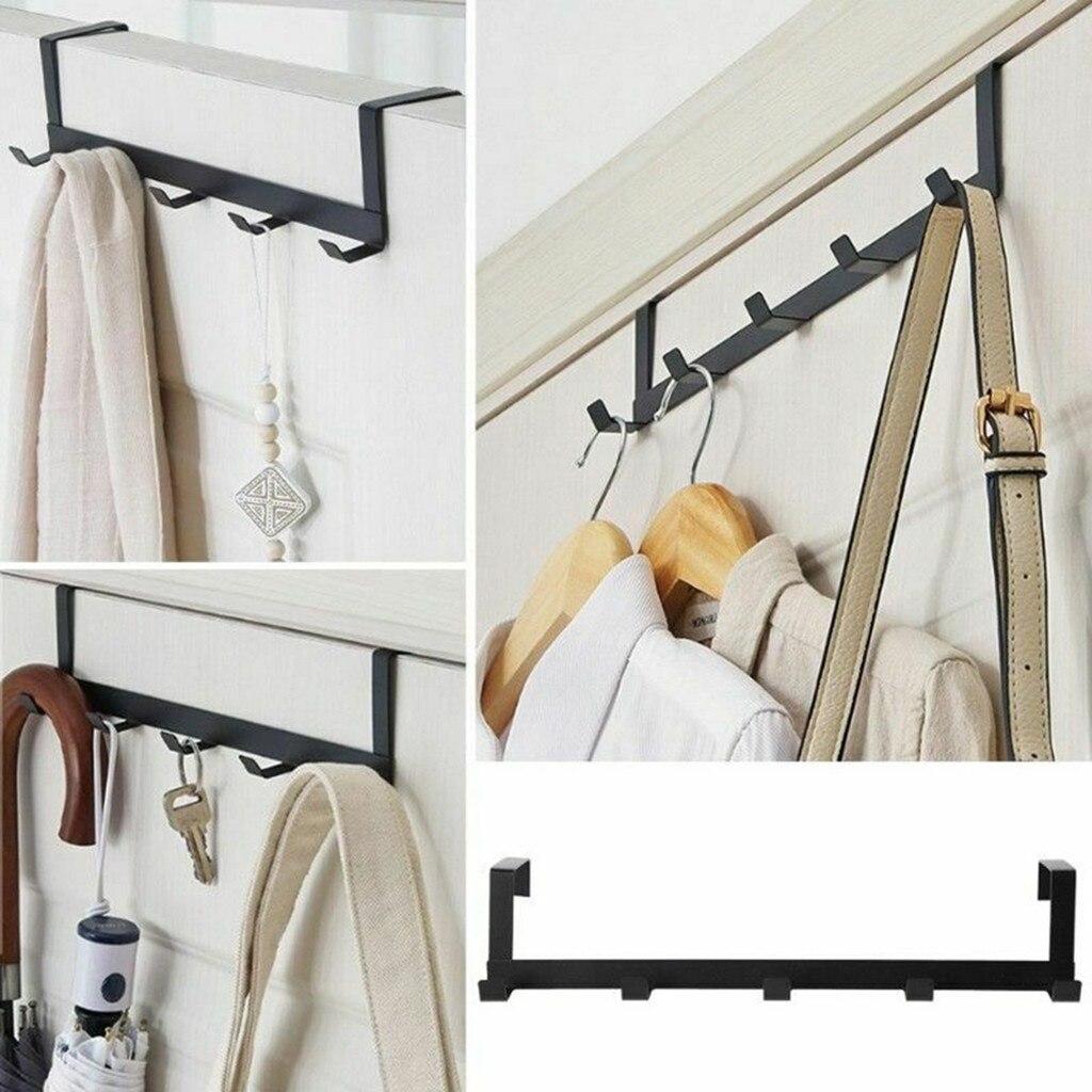 Over The Door 5 Hooks Home Bathroom Organizer Rack Clothes Coat Hat Towel Hanger Accessories Holder Hooks #T1P