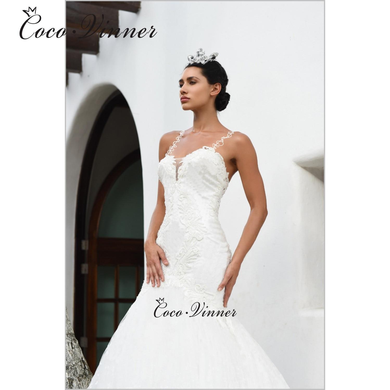 Vestidos De novia con tirantes especiales bordados, escote Corazón, sirena, ilusión, botón, económicos, blanco puro, W0586
