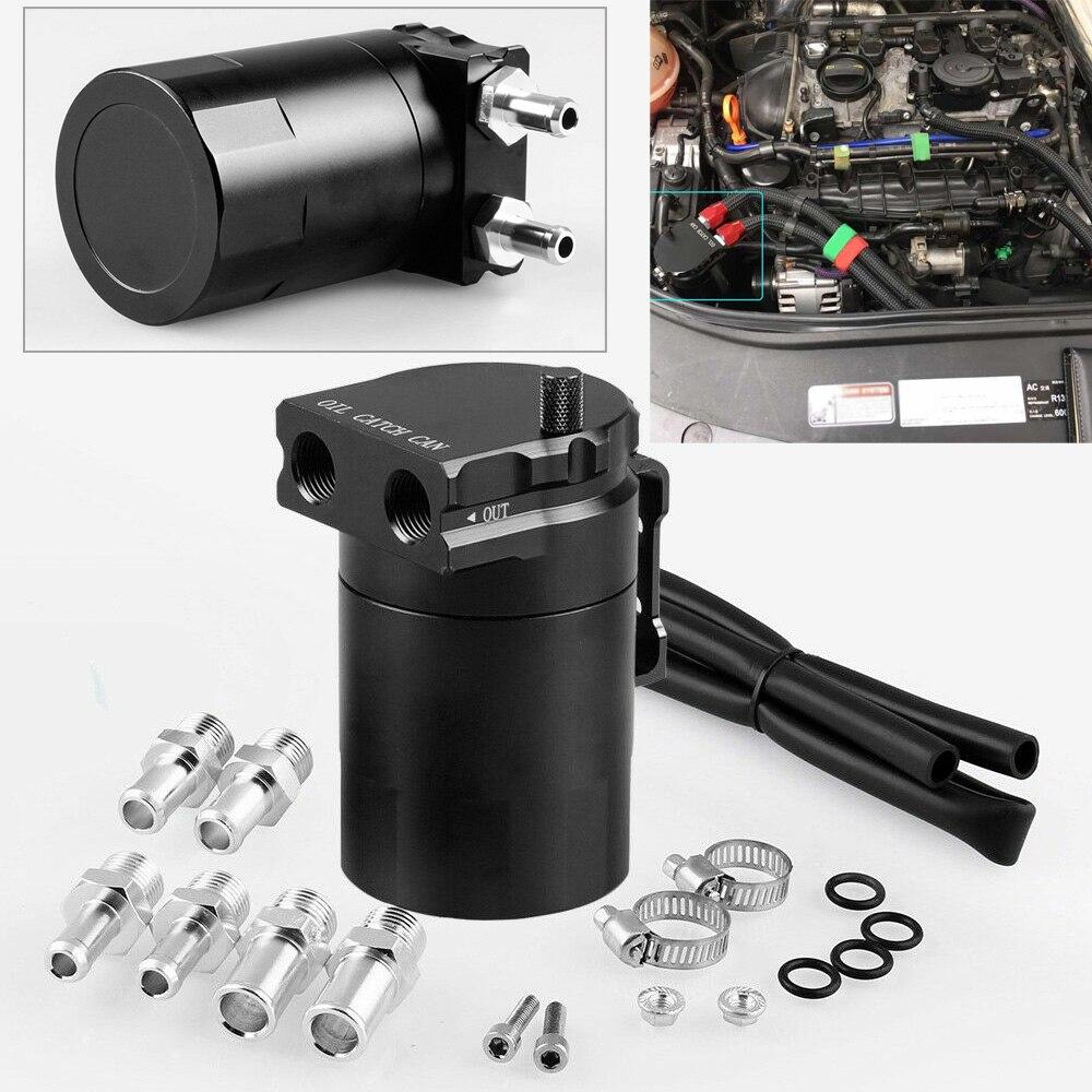 Kit de filtro de depósito de tanque de 300 ml, bote de ventilación de aceite de aleación de aluminio negro para coche