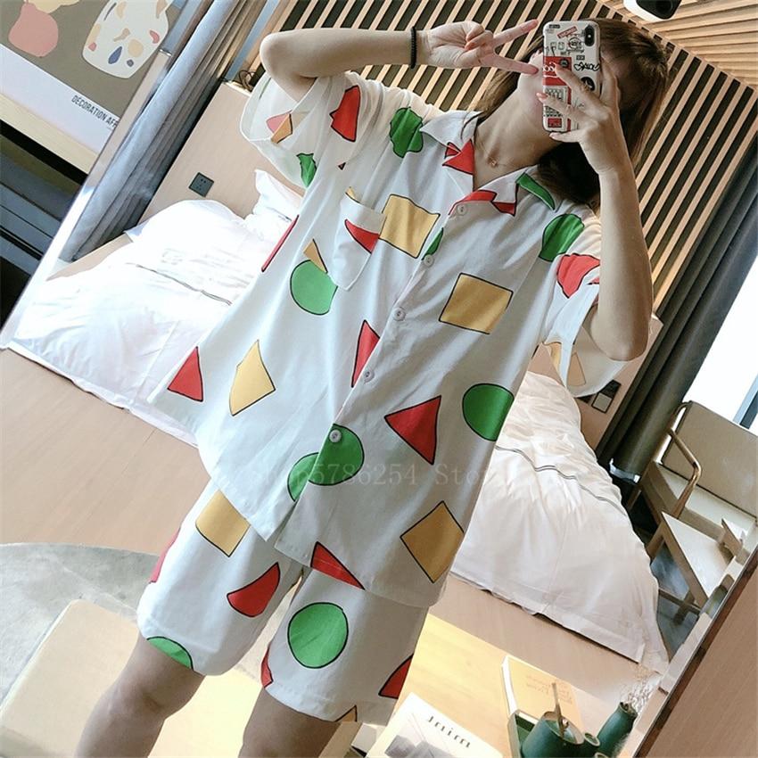 2021 New Short Sleeve Pajamas Set for Women Cotton Sleepwear 2Pcs Nightwear Cute Print Homewear Summ