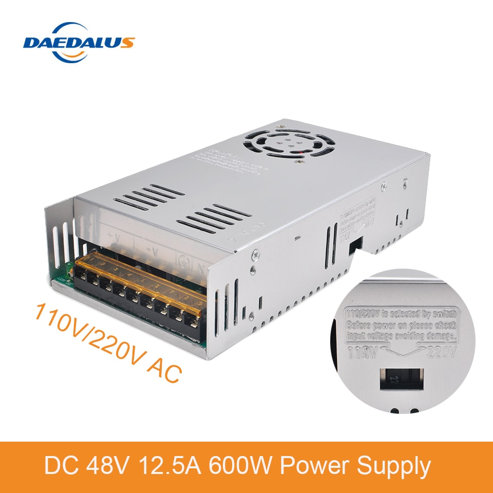 DC 48V 12.5A 600W fuente de alimentación 110V 220V AC transformador de voltaje constante para 400W 500W 600W husillo
