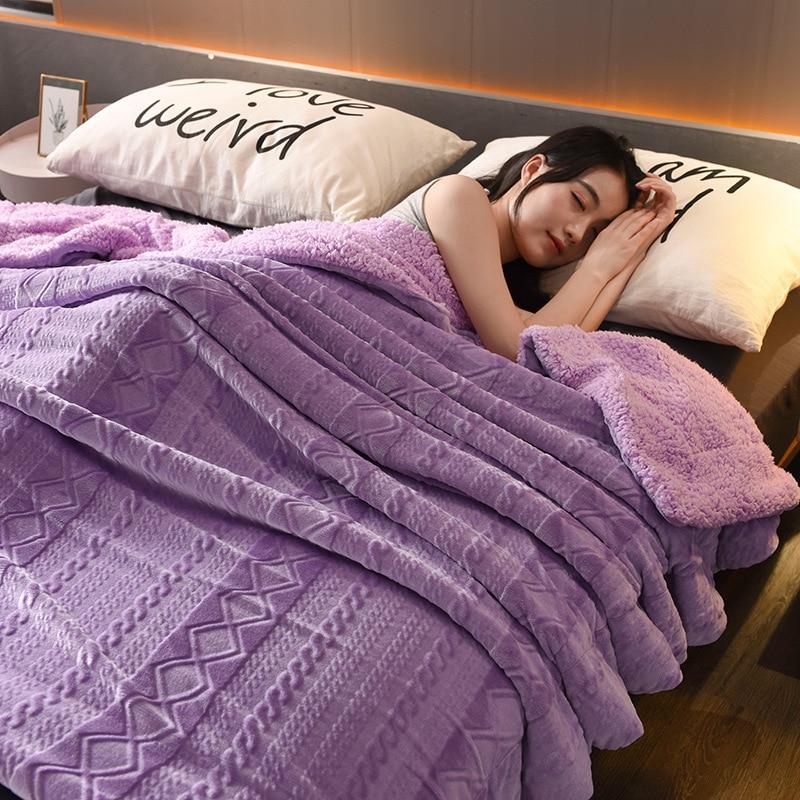 بطانية من الصوف المرجاني السميك ، بطانية مزدوجة من الفانيلا ، هدية ، غطاء أريكة فائق النعومة ، ملاءة دافئة لفصل الشتاء ، الفراش