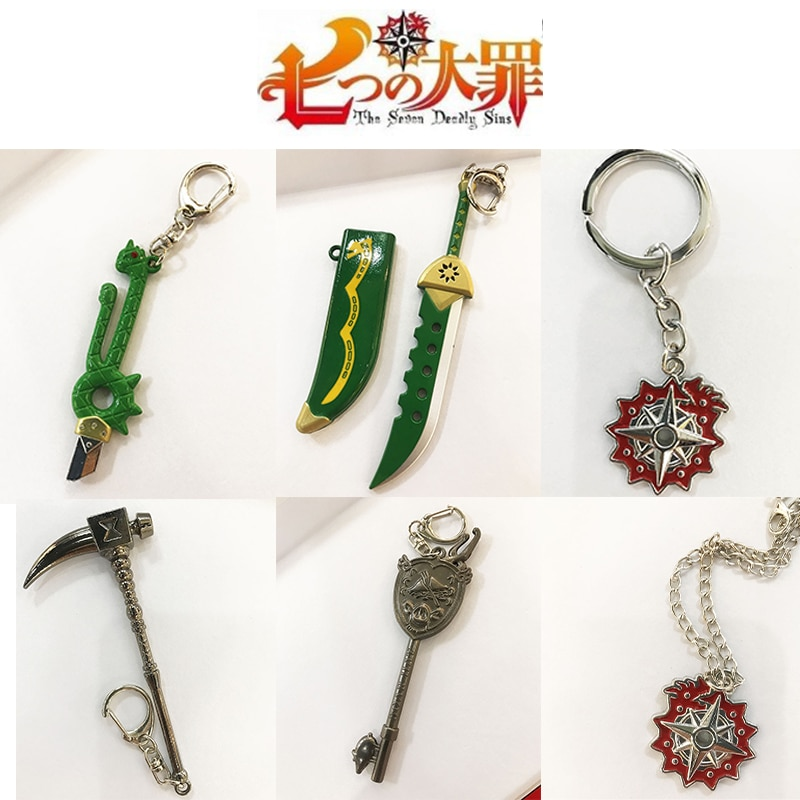 The Seven Deadly Sins Weapon Keychain Nanatsu No Taizai Axe Key Chain Key Ring Cosplay Anime Accessories Pendant Gift elizabeth liones cosplay the seven deadly sins nanatsu no taizai anime tops skirt belt outfit costume