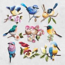 Patch de fer à oiseaux sur vêtements   Applique de broderie, manteau, chapeau, accessoires pour pantalons, autocollant en tissu