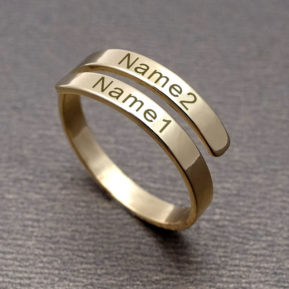 Anillo de nombre personalizado, anillo de nombre personalizado, anillo con placa para el nombre, joyería de oro para aniversario, regalo de San Valentín para mujer