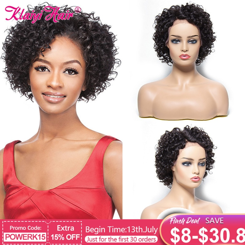 Pelucas de cabello humano corto rizado Klaiyi Hiar para mujeres pelucas de cabello humano con frente de encaje pelucas de cabello humano brasileño Remy Color Natural