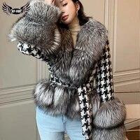 real fur coat women houndstooth stitching woolen slim big fur collar natural silver fox jacket short 2021 winter lace up luxury