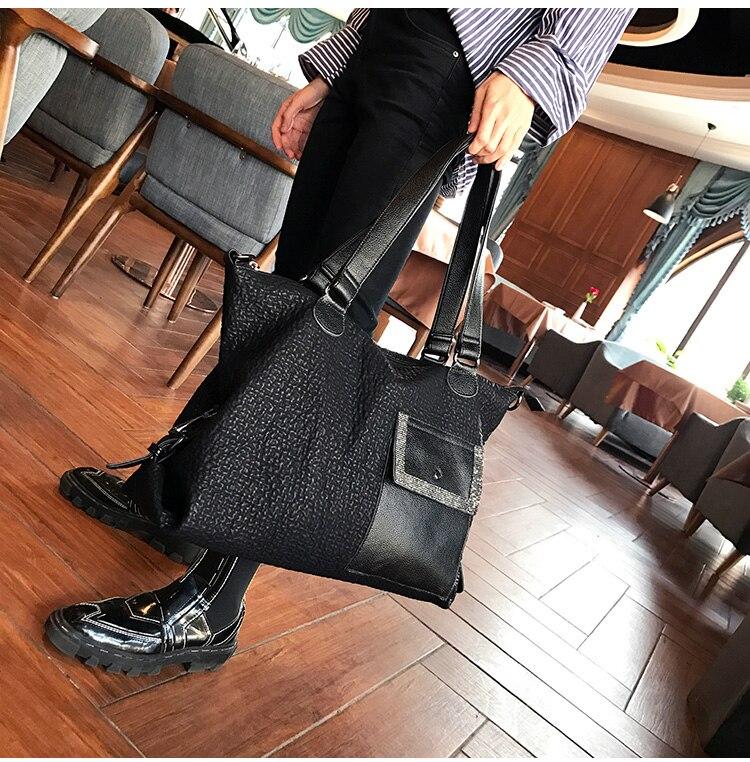 أسود حقيبة الموضة الإناث حجم كبير 40 سنتيمتر جلد الغنم جلد طبيعي المرأة حقيبة يد حقائب للنساء