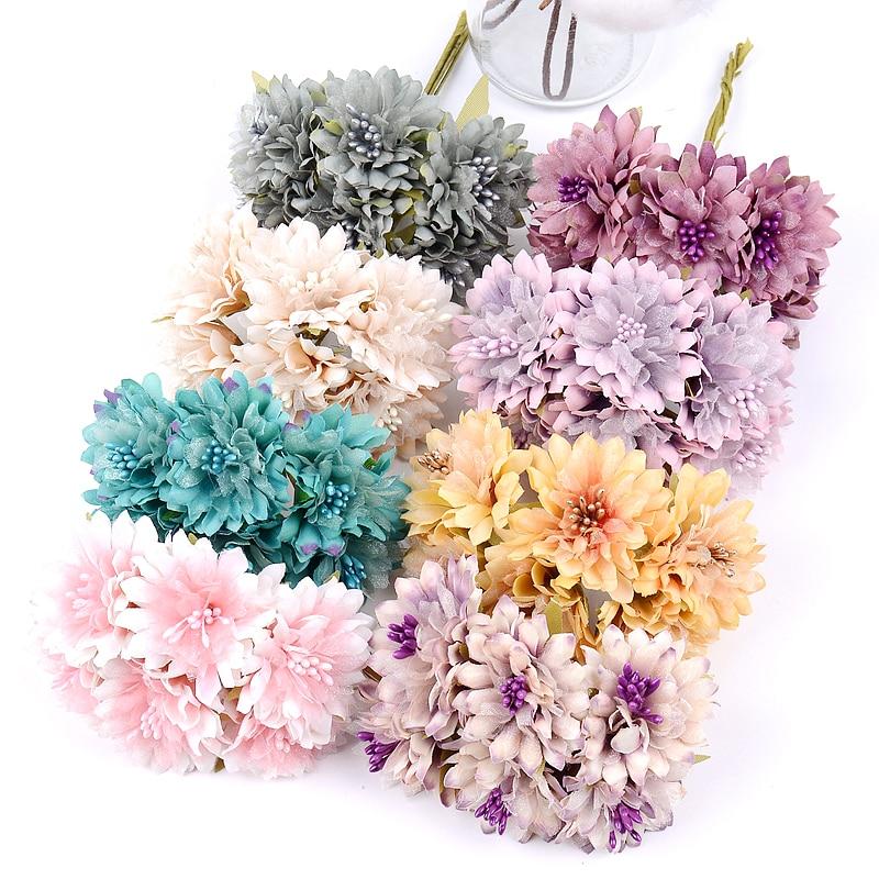 6pc 8CM New Artificial Flowers Bouquet  Home Decoration Fake Flower For Wedding Home Garden Decoration DIY Wreath Headdress